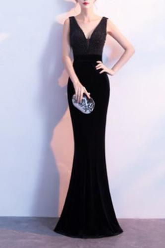 Elegant Fishtail V Collar Sexy Evening Dress