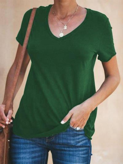 Casual V-Neck Short Sleeve Solid Plus Size T-shirt