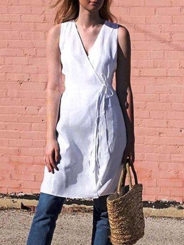 White V Neck Casual Dresses