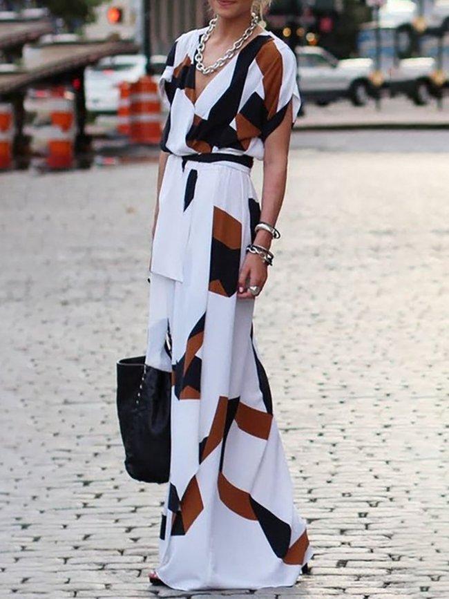 V neck Women Short Sleeve Basic Casual Dress