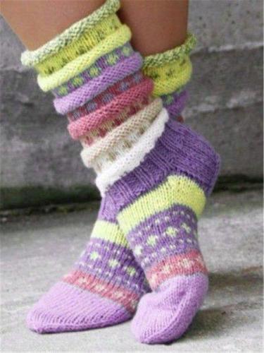 Casual Green Vintage Knit Fuzzy Socks