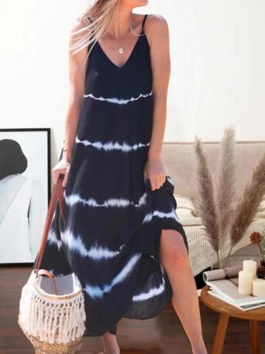 Printed Sleeveless Holiday V-neck Maxi Dress