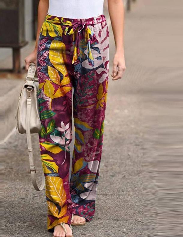 2020 Bohemain Printed Trousers Women's Wide Leg Pants Casual Elastic Waist Long Pantalon