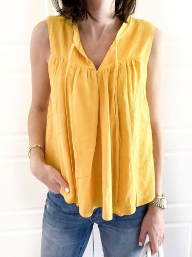 Yellow V Neck Cotton Sleeveless Solid Shirts & Tops