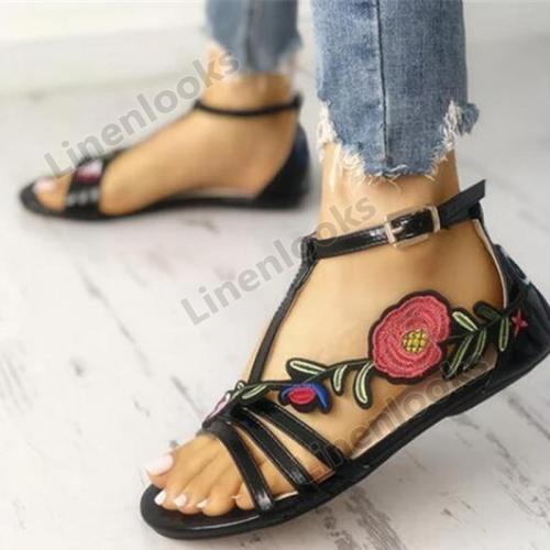 Summer Gladiator Women Sandals Flat Heel Flower Embroidery Peep Toe Beach Sandals