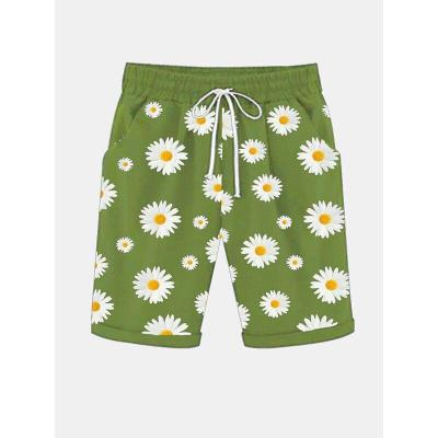 Bohemian Casual Sunflower Floral Printed Shorts Drawstring Short Femme Loose Shorts