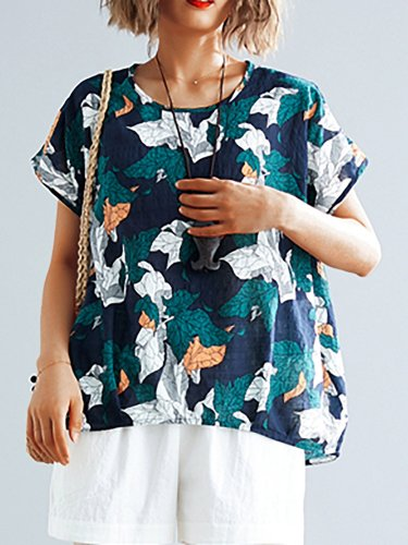Plus Size Women Short Sleeve  Round Neck Floral  Loose Casual  Tops