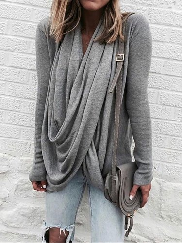 Draped Long Sleeve Casual Shirt
