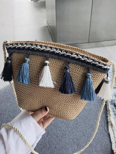 Women Tassel Straw Basket Bag Daytime Beach Shoulder Bags