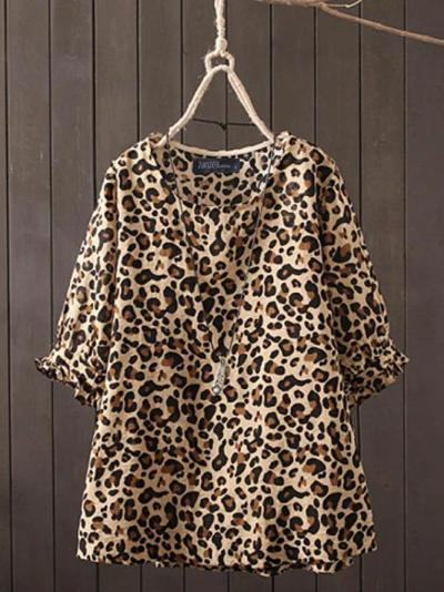 Holiday Crew Neck Cotton Leopard Print Tops