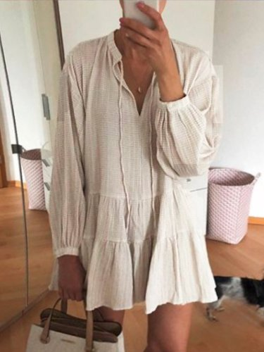 Beige Solid Long Sleeve Linen Dresses