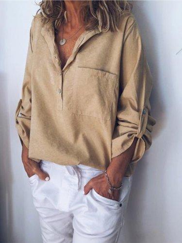 Women V Neck Cotton Linen Loose T Shirt Tops Tunic