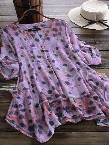 Short Sleeve Buttoned Sweet Cotton-Blend Shirts & Tops