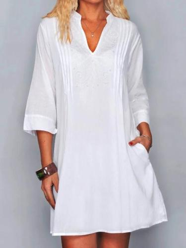 Embroidery Pockets Mini Dress White 3/4 Sleeve Dresses
