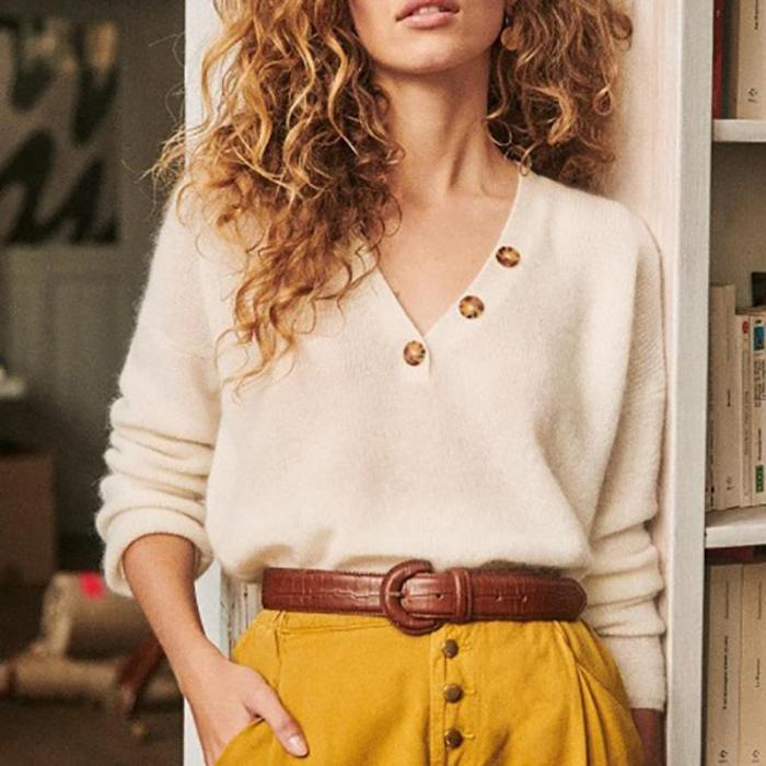 Womens Casual V Neck Long Sleeve Sweater