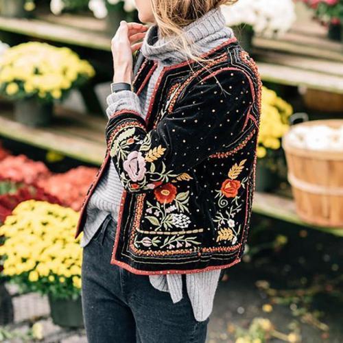 Fashion Long Sleeve Embroidery Short Blazer