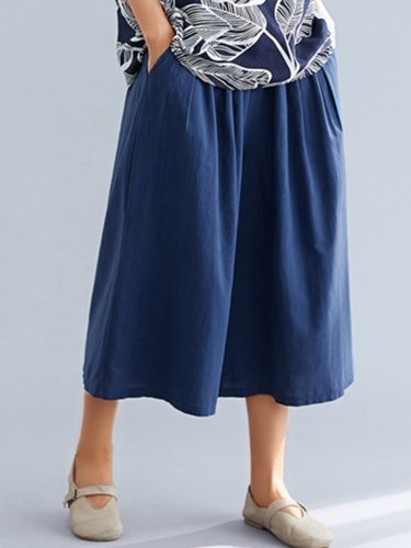 Women Blue Casual Wide Leg Pants