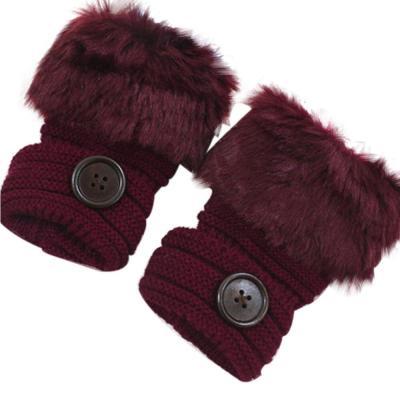Stylish Winter Autumn Button Knitted Gloves Faux Rabbit Fur Wrist Fingerless Gloves