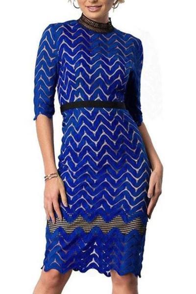 Elegant Round Neck Slim Lace Bodycon Dress