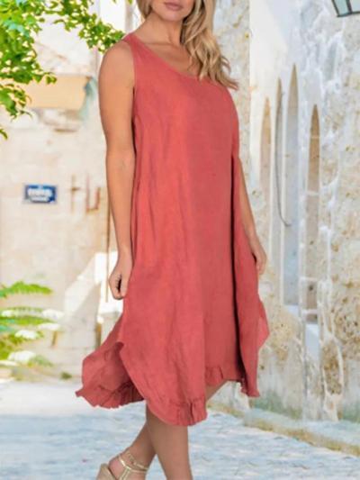 Linen Maxi Dress With Frill Bottom/ Pockets Dresses