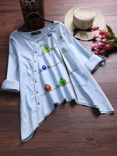 Blue Cotton-Blend Bird Vintage Shirts & Tops