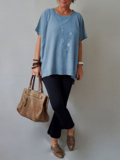 Short Sleeve Crew Neck Casual Shirts & Tops