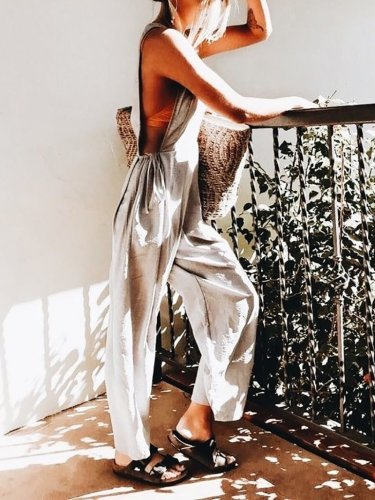 Casual Pure Colour Belted Sleeveless Pleated Jumpsuit