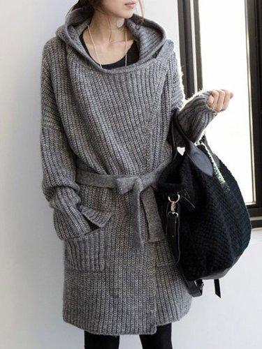 Knitted Long Sleeve Hoodie Casual Cardigan