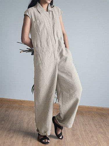 Casual Short Sleeve Plus Size Jumpsuits With Pockets