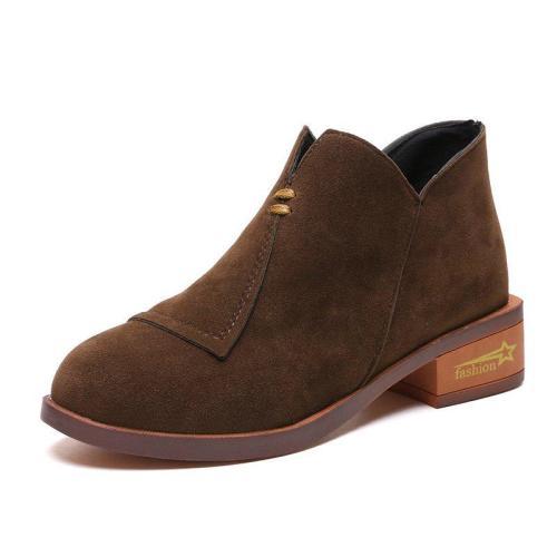 Womens Flocking Zipper Daily Chunky Heel Boots