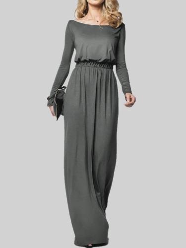 Long Sleeve Bateau/boat Neck Polyester Elegant Casual Dress