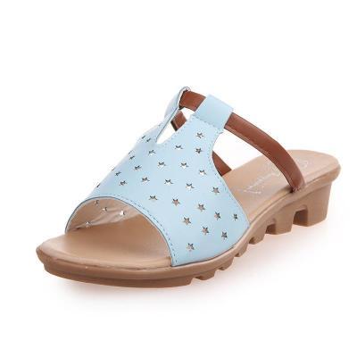 Women Summer Beach Wedge Heel Star Hollow-Out Slippers