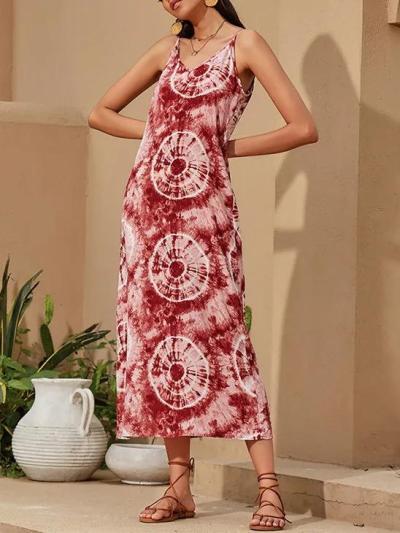 Casual Spaghetti Tie-Dye Maxi Dresses
