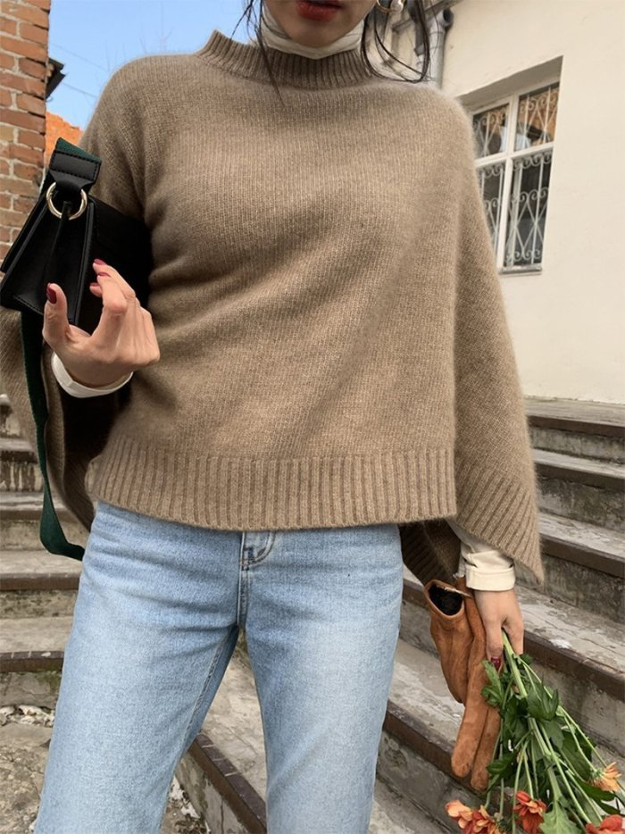 Casual Pure Colour Cloak Knitted Sweater