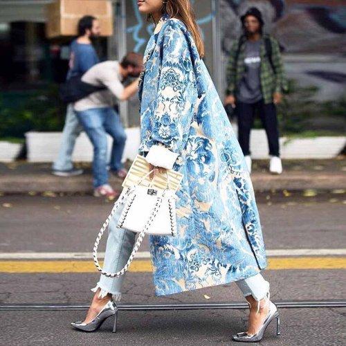 Floral Pattern Printed Long Sleeve Coat