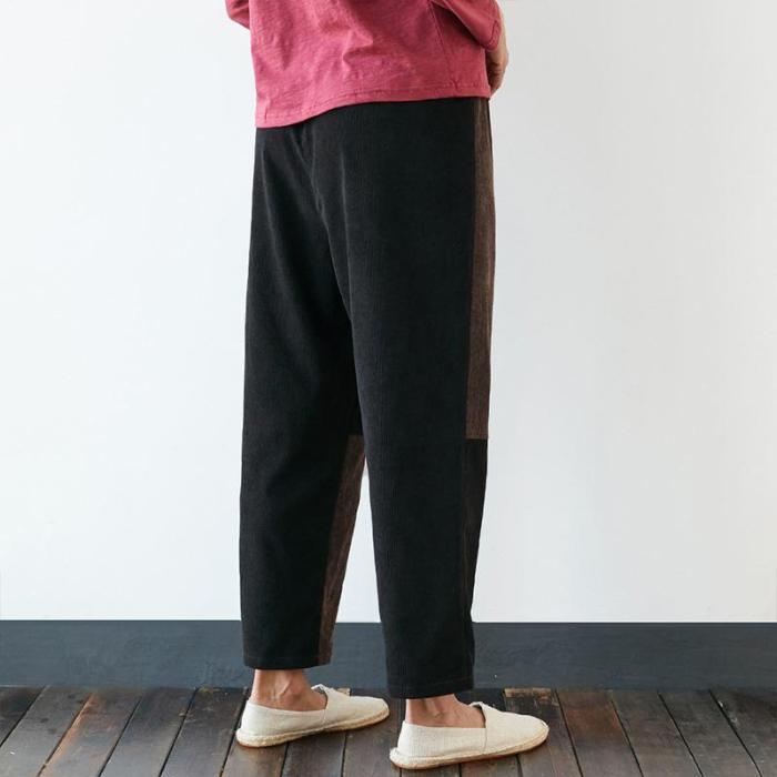 2020 Casual Pockets Long Trousers Vintage Bottoms Patchwork Pants