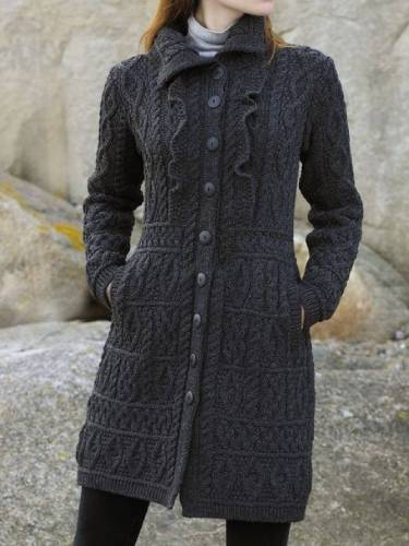 Vintage Knitted Long Sleeve Shirt Collar Outerwear