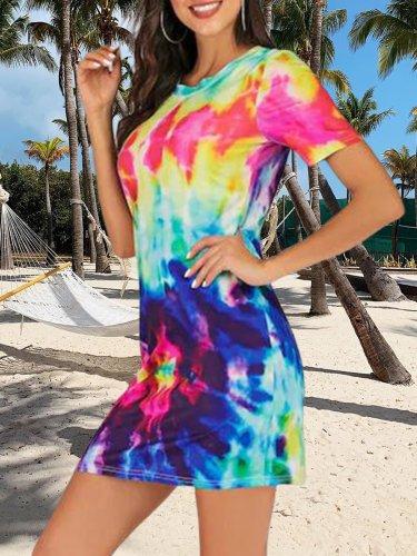Multicolor Round Neck Short Sleeve Cotton Casual Dresses