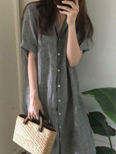 Shawl Collar Women Casual Dresses Daily Striped Midi Dresses