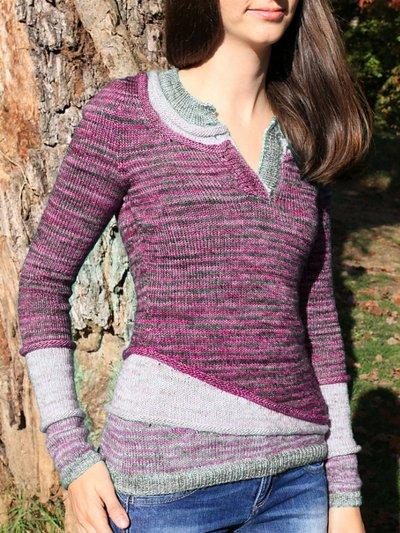 V Neck Wool Blend Long Sleeve Striped Women's Sweaters