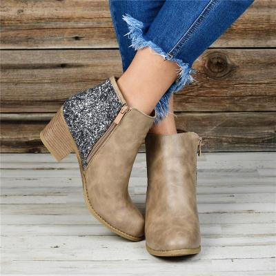 Women Sequined Splicing Chunky Heel Side Zipper Ankle Boots