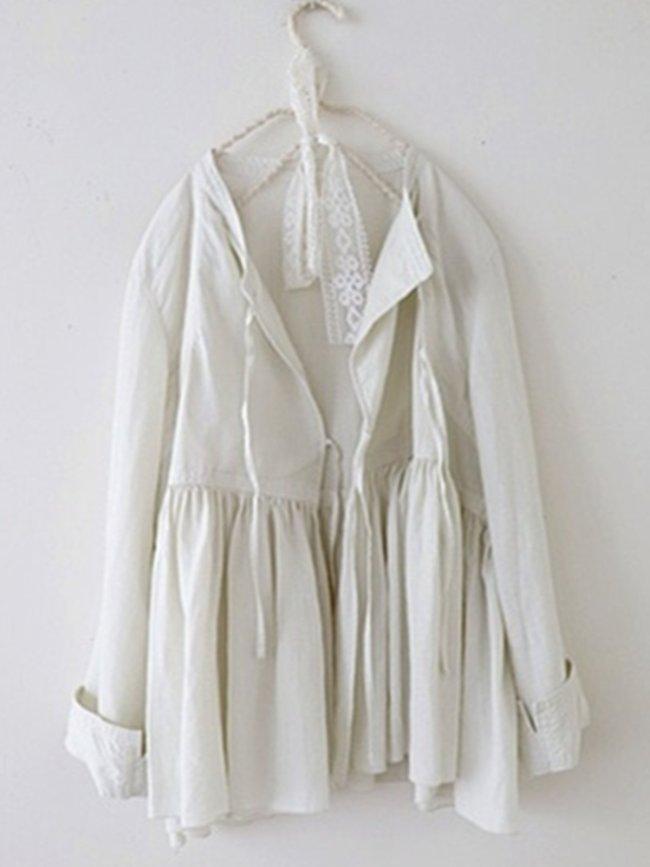 White Cotton V Neck Shift Long Sleeve Shirts & Tops
