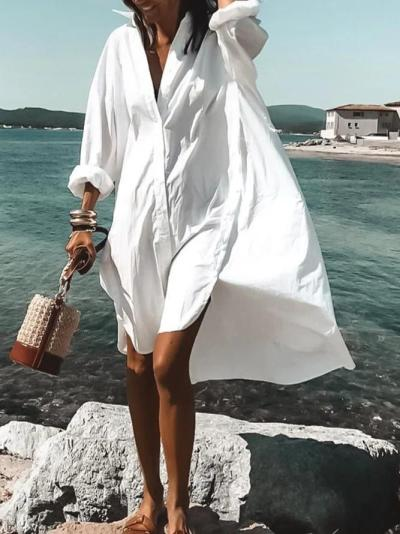 White Casual V Neck Plain Dresses