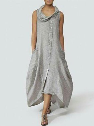 Women Linen Maxi Dresses Plus Size
