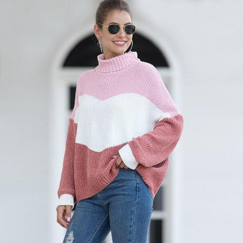 New Autumn and Winter Sweater Women's Velvet Mixed Color Turtleneck Sweater Winter Sweater Women Sweater