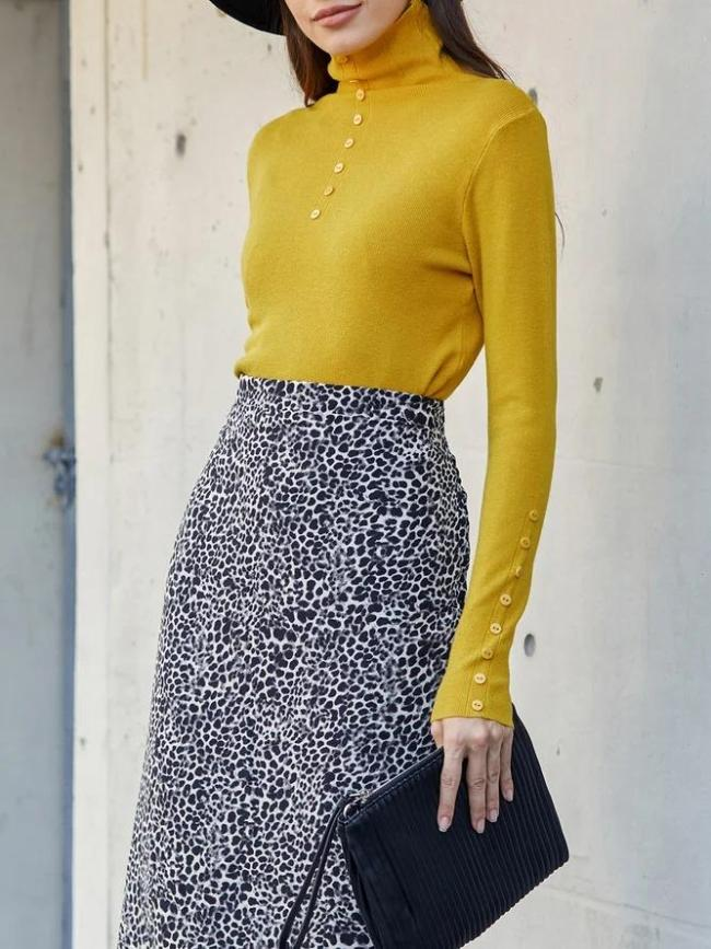 Yellow Solid Turtleneck Simple & Basic Knitted Sweater