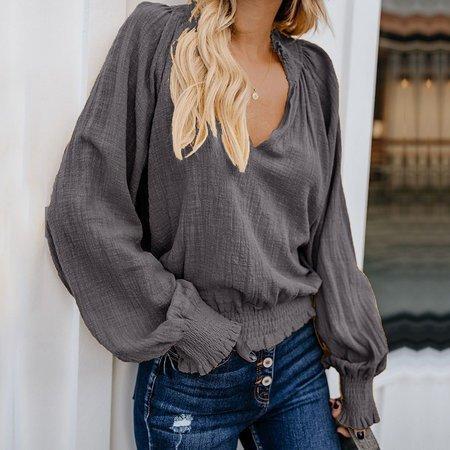 Vintage Solid Long Sleeve Tops -Blouses