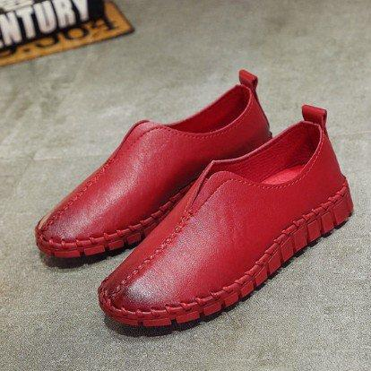 Red Spring/Fall Handmade Sewing Wedge Heel Loafers