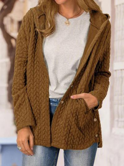 Solid Long Sleeve Hoodie Coats Outerwear