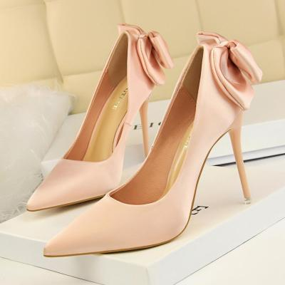 Women New Stiletto Heels Fashion Shallow Mouth Pointed Satin Bow Wedding Pumps Shoes